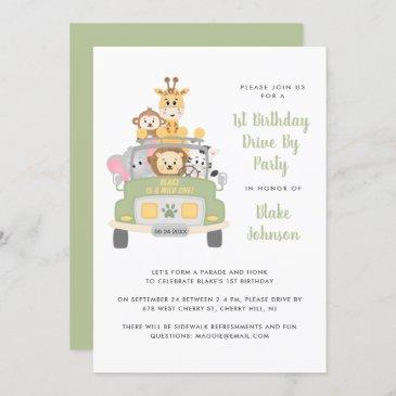 1st birthday animal safari drive by party invitation