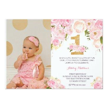 1st birthday first beautiful floral invitation,