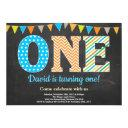 1st birthday invitation boy chalkboard