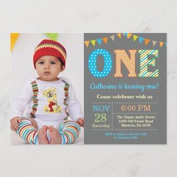 1st birthday invitation. boy first birthday photo invitation