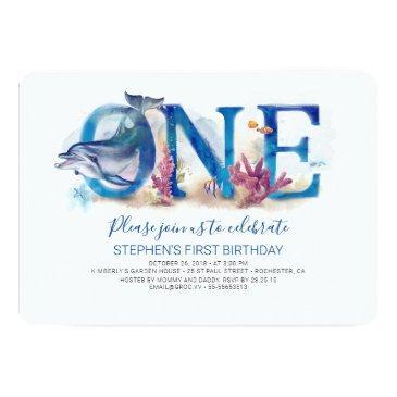 1st birthday invitations under the sea ocean beach