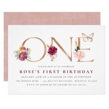 1st birthday invitations | saffron rose butterfly