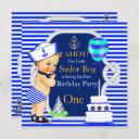 1st birthday sailor boy navy blue stripe blonde invitation