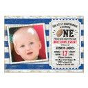 1st birthday sports football rustic blue photo invitation