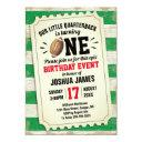 1st birthday sports football ticket rustic green invitation