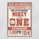 1st birthday vintage baseball invite