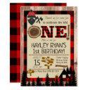 1st birthday wild one flannel lumberjack theme invitation