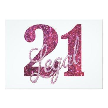 Small 21 And Legal | Pink Glitter 21st Birthday On White Invitation Back View