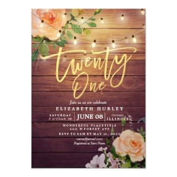 Small 21 Birthday Party Rustic Wood Flowers String Light Invitation Front View