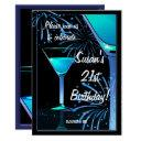 21st birthday blue martini cocktail party invitations