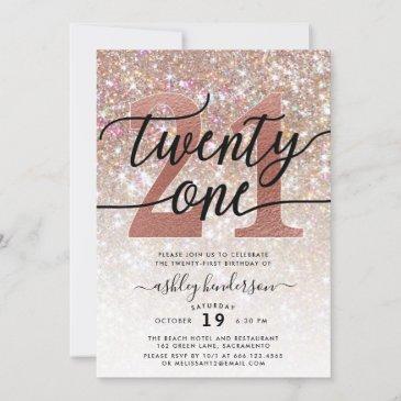 21st birthday champagne glitter invitation