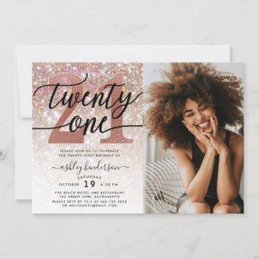21st birthday champagne glitter photo invitation
