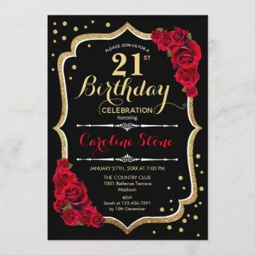21st birthday - gold black red roses invitation