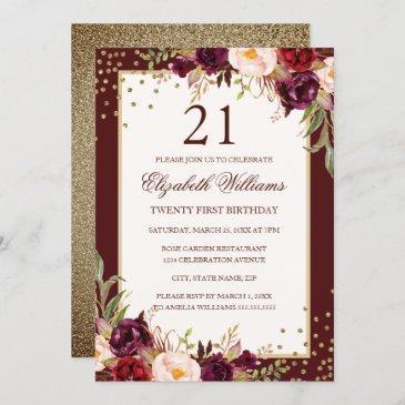 21st birthday gold burgundy floral invitation