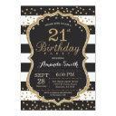 21st birthday invitations. black and gold glitter invitations
