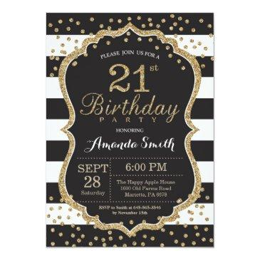 21st birthday invitation. black and gold glitter invitation