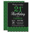 21st birthday invitations black and green chevron