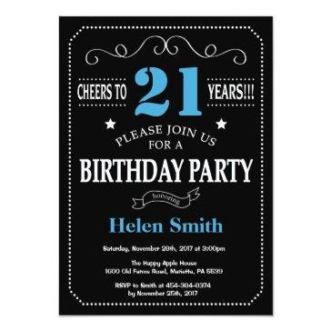 Small 21st Birthday Invitation Blue And Black Chalkboard Front View