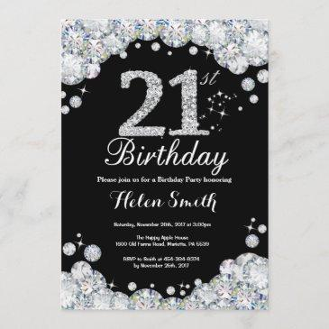 21st birthday invitation chalkboard silver diamond