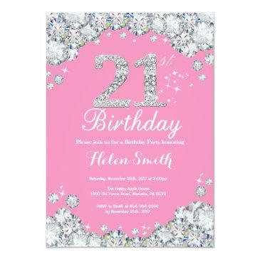 Small 21st Birthday Invitation Pink And Silver Diamond Front View