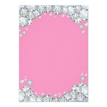 Small 21st Birthday Invitation Pink And Silver Diamond Back View