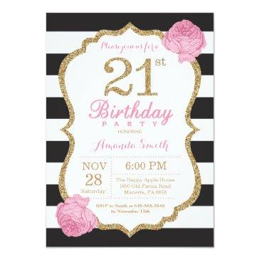21st birthday invitation pink black gold floral