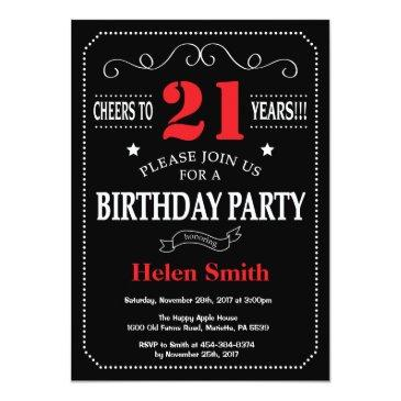Small 21st Birthday Invitation Red And Black Chalkboard Front View