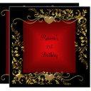 21st birthday party black bright deep red gold invitation