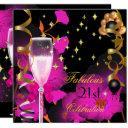 21st birthday party champagne gold pin celebration invitation