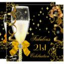21st birthday party fabulous champagne gold black invitations