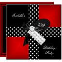 21st birthday party red polka dot black white invitation