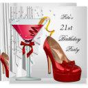 21st birthday party red white cocktail shoe invitations