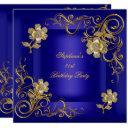 21st birthday party royal blue gold diamond invitation