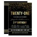 21st birthday party | shimmering gold confetti invitations