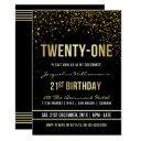 21st birthday party | shimmering gold confetti invitation