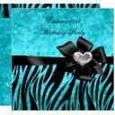 21st birthday party zebra silver teal blue black invitations