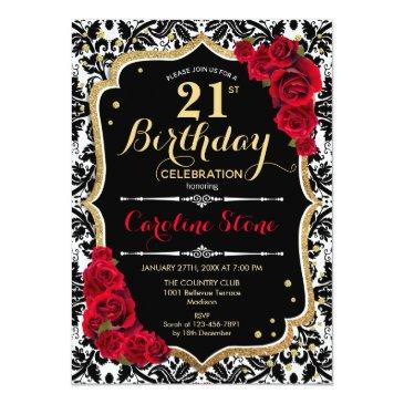 Small 21st Birthday - Red Roses Gold Black Damask Invitation Front View