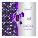 21st birthday silver sequins purple diamond bow invitation