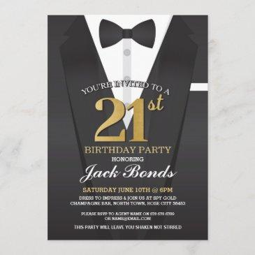 21st birthday spy suit black tie gold invitation