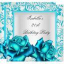 21st birthday teal blue floral rose white invitation