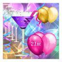 21st birthday white pink purple martini balloons invitation