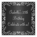 25th birthday black & silver floral metal invitations