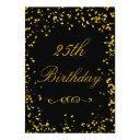 25th birthday glamorous gold confetti invitation