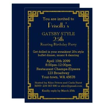 25th,birthday party, gatsby style, navy & gold invitations