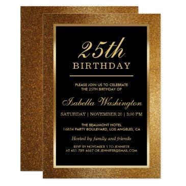 25th birthday party | trendy glam gold glitter invitation