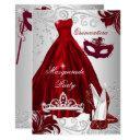 2 burgundy silver dress masquerade quinceanera invitation