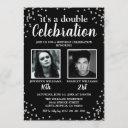 2 photo black silver birthday invitation