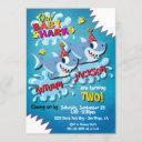 2 sharks baby birthday party invitation