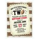 2nd birthday sports football ticket rustic brown invitation