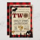 2nd birthday wild one flannel little moose theme invitation